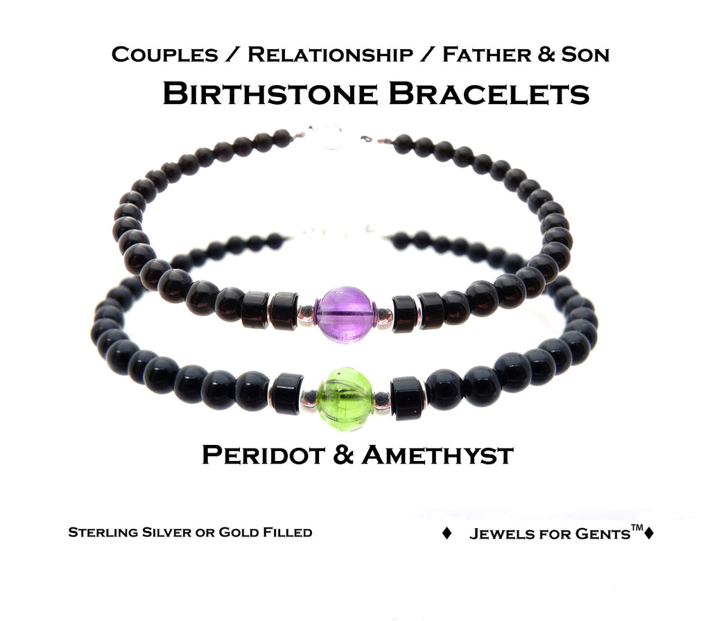 Friendship Bracelets, Relationships, Father Son Matching Bracelets, Couples Birthstone Bracelets  - DAMALI by GemstoneGifts Handmade Jewelry