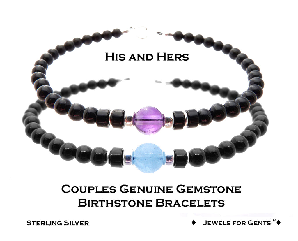 Silver His & Hers Couples Bracelets, Relationship Bracelets, Friendship Bracelets, Father & Son Bracelets Gemstone Birthstone Bracelets  - DAMALI by GemstoneGifts Handmade Jewelry