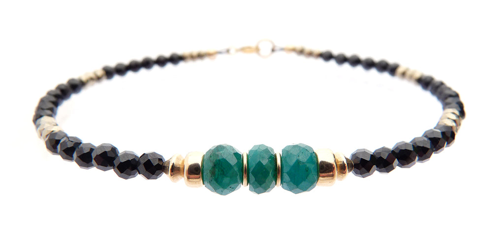 Emerald May Birthstone Beaded Bracelets, Minimalist Tourmaline Gemstone Bracelet  - DAMALI by GemstoneGifts Handmade Jewelry