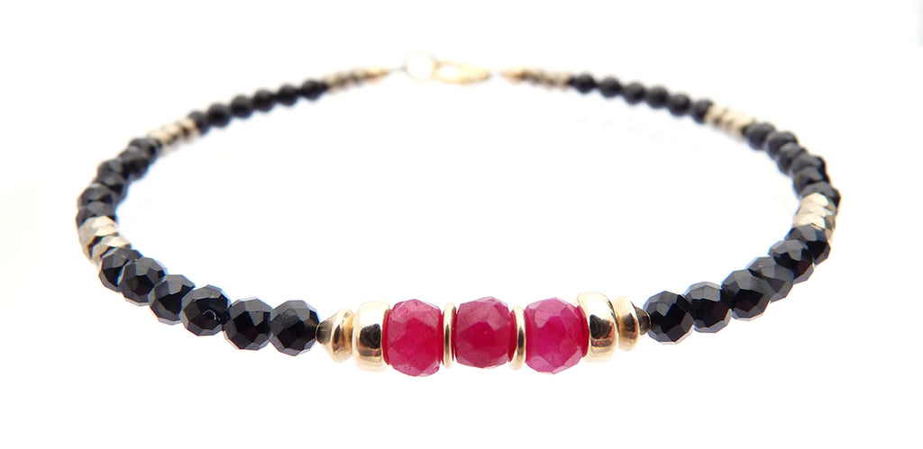 Ruby July Birthstone Beaded Bracelets, Minimalist Tourmaline Gemstone Bracelet  - DAMALI by GemstoneGifts Handmade Jewelry