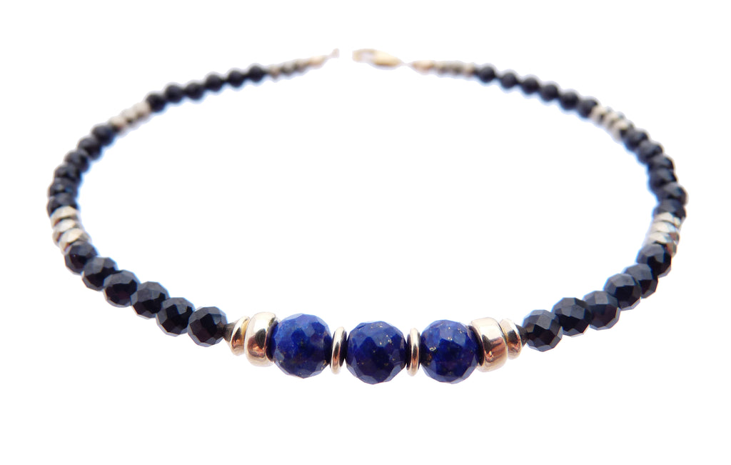 Minimalist Black Tourmaline & Lapis Lazuli Beaded Bracelets  - DAMALI by GemstoneGifts Handmade Jewelry
