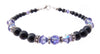 Black Pearl Jewelry: Bracelets w/ Simulated  Indigo Tanzanite Accents in Swarovski Crystal Birthstone Colors Black Pearl Bracelets - DAMALI by GemstoneGifts Handmade Jewelry