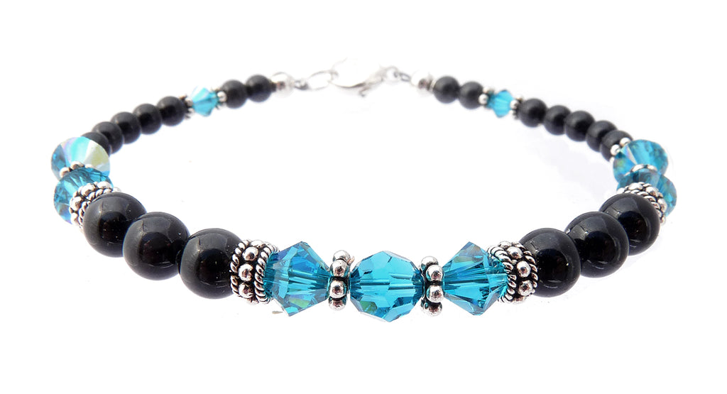 Black Pearl Jewelry: Bracelets w/ Simulated  Blue Zircon Accents in Swarovski Crystal Birthstone Colors Black Pearl Bracelets - DAMALI by GemstoneGifts Handmade Jewelry