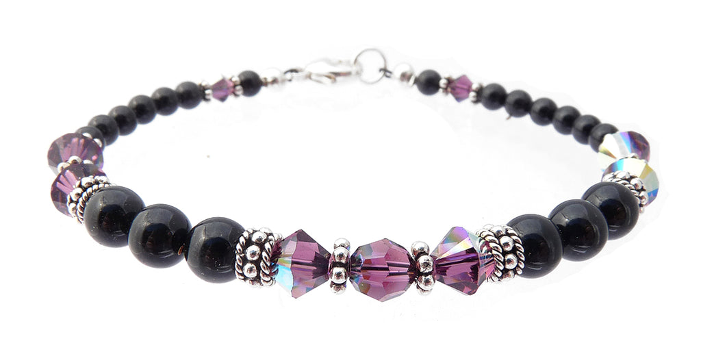 Black Pearl Jewelry: Bracelets w/ Simulated  Purple Amethyst Accents in Swarovski Crystal Birthstone Colors Black Pearl Bracelets - DAMALI by GemstoneGifts Handmade Jewelry
