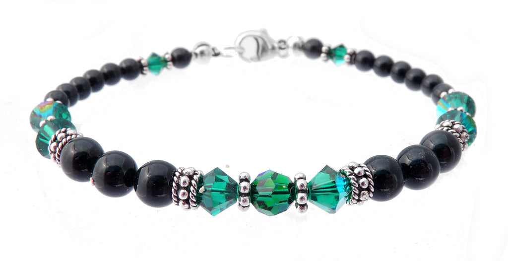 Black Pearl Jewelry: Bracelets w/ Simulated  Green Emerald Accents in Swarovski Crystal Birthstone Colors Black Pearl Bracelets - DAMALI by GemstoneGifts Handmade Jewelry