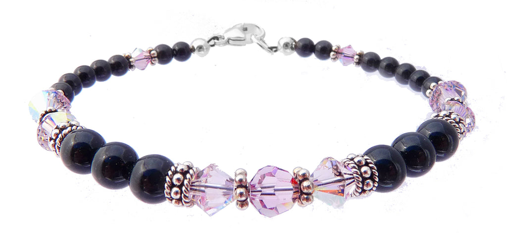 Black Pearl Jewelry: Bracelets w/ Simulated  Purple Alexandrite Accents in Swarovski Crystal Birthstone Colors Black Pearl Bracelets - DAMALI by GemstoneGifts Handmade Jewelry