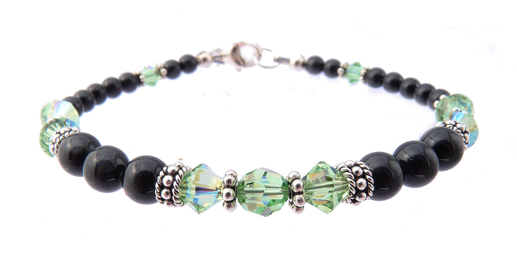 Black Pearl Jewelry: Bracelets w/ Simulated  Green Peridot Accents in Swarovski Crystal Birthstone Colors Black Pearl Bracelets - DAMALI by GemstoneGifts Handmade Jewelry