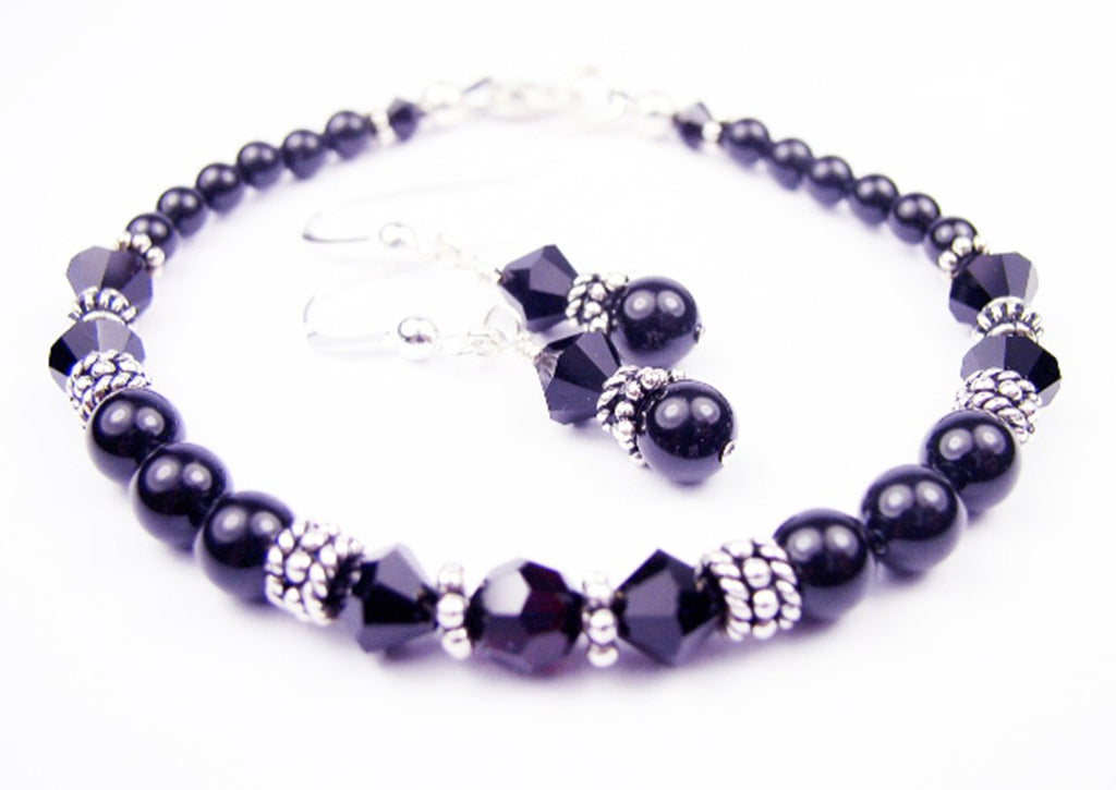 Black Pearl Beaded Bracelets and Earrings SET w/ Simulated  Red Garnet Accents in Swarovski Crystal Birthstone Colors