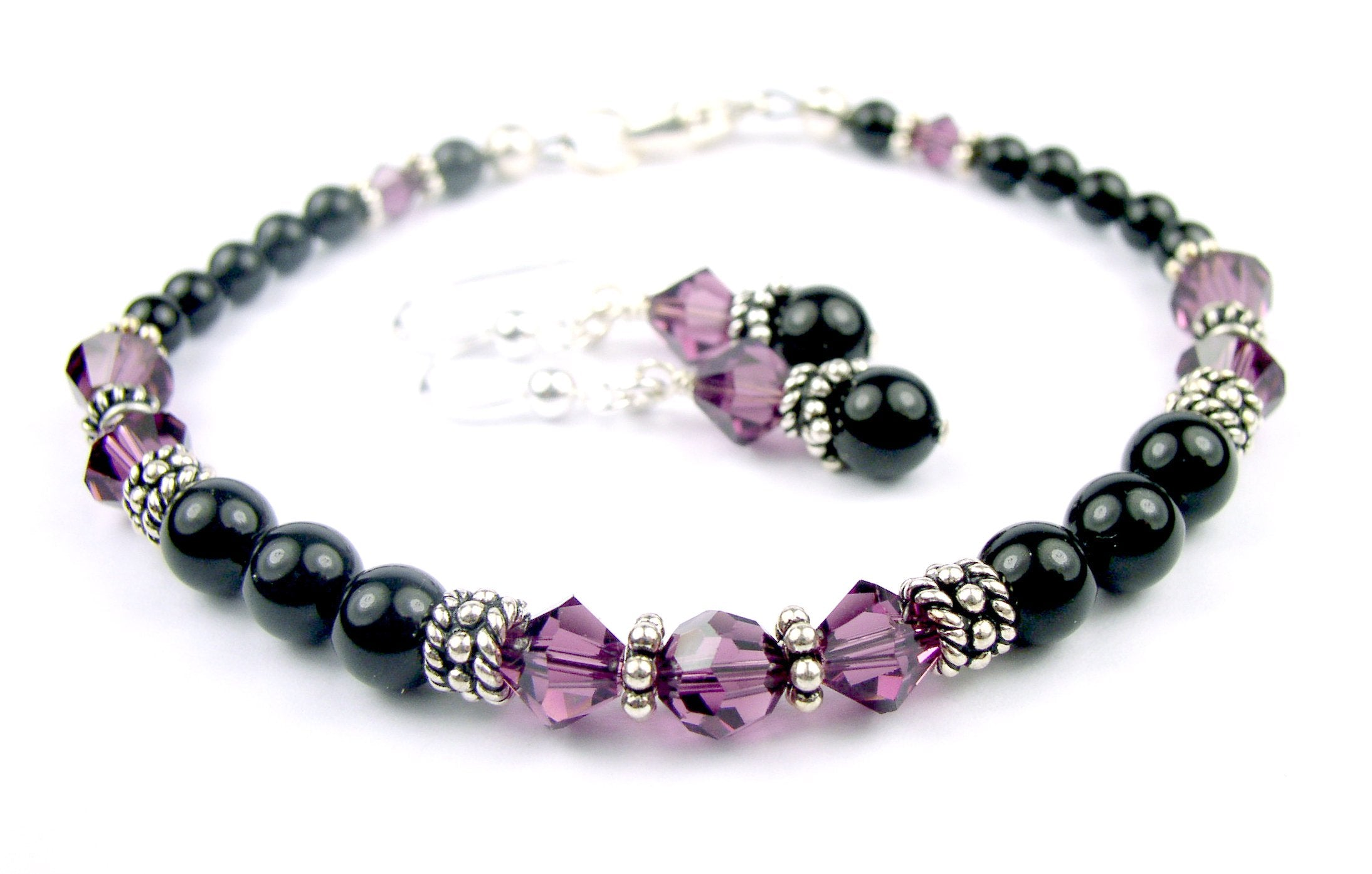 bsblkpl black crystal bracelets purple accents set products in earrings w pearl silver swarovski bracelet simulated jewellery beaded and amethyst