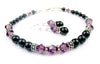 Black Pearl Beaded Bracelets and Earrings SET w/ Simulated  Purple Amethyst Accents in Swarovski Crystal Birthstone Colors