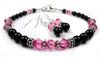 Black Pearl Beaded Bracelets and Earrings SET w/ Simulated  Pink Tourmaline Accents in Swarovski Crystal Birthstone Colors