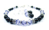 Black Pearl Beaded Bracelets and Earrings SET w/ Simulated  Indigo Tanzanite Accents in Swarovski Crystal Birthstone Colors