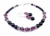 Black Pearl Beaded Bracelets and Earrings SET w/ Simulated  Purple Amethyst Accents in Swarovski Crystal Birthstone Colors Black Pearl Bracelets & Earrings Sets - DAMALI by GemstoneGifts Handmade Jewelry