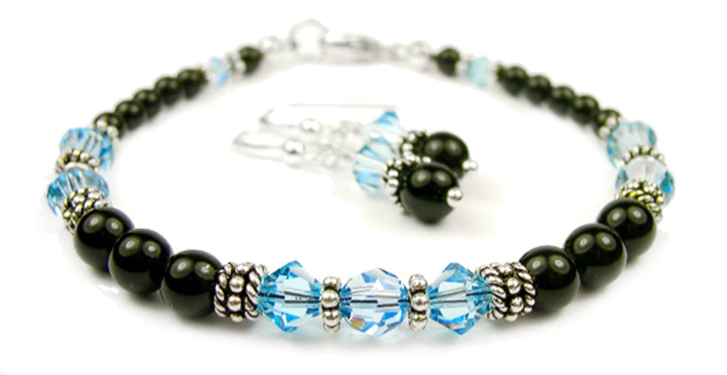 Black Pearl Beaded Bracelets and Earrings SET w/ Simulated  Blue Aquamarine Accents in Swarovski Crystal Birthstone Colors