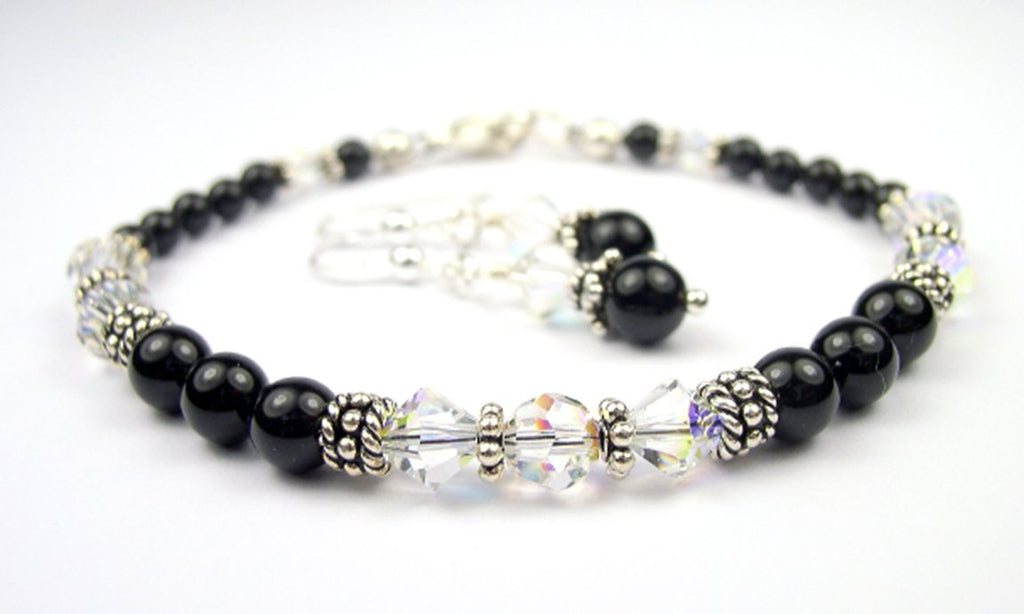 Black Pearl Beaded Bracelets and Earrings SET w/ Simulated  Clear Crystal April Accents in Swarovski Crystal Birthstone Colors