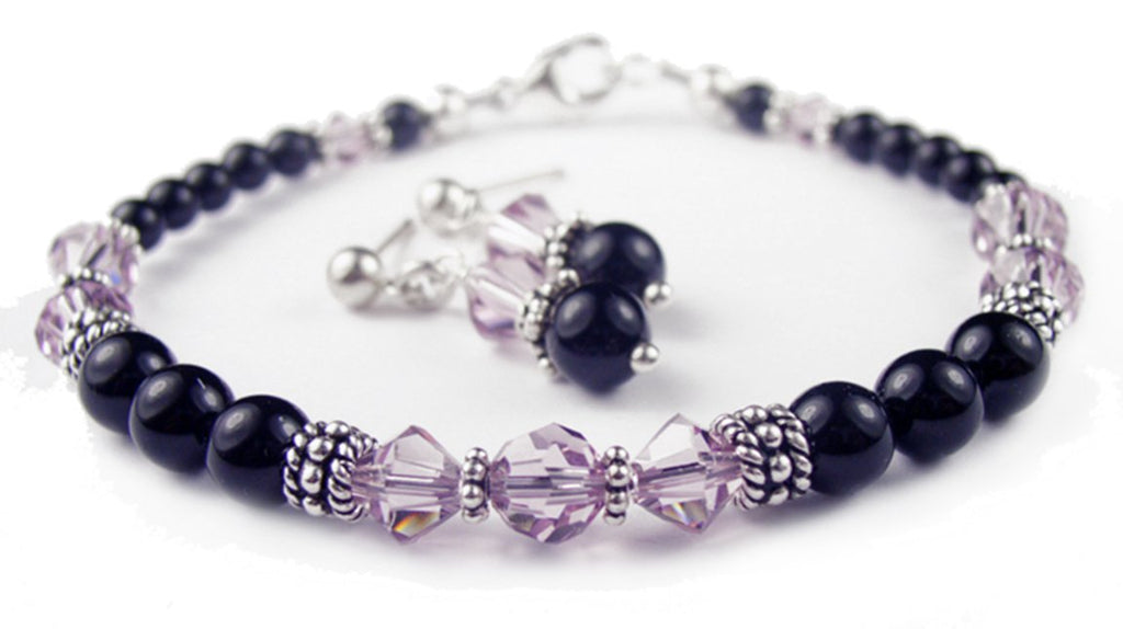 Black Pearl Beaded Bracelets and Earrings SET w/ Simulated  Purple Alexandrite Accents in Swarovski Crystal Birthstone Colors