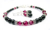 Black Pearl Beaded Bracelets and Earrings SET w/ Simulated  Red Ruby Accents in Swarovski Crystal Birthstone Colors