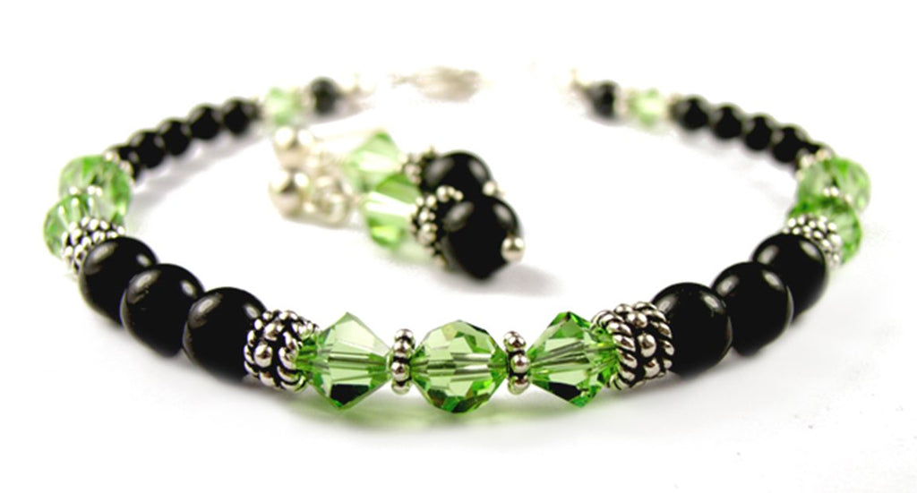 Black Pearl Beaded Bracelets and Earrings SET w/ Simulated  Green Peridot Accents in Swarovski Crystal Birthstone Colors
