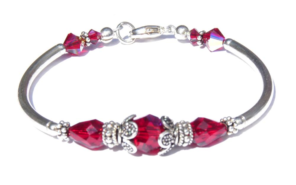 Solid Sterling Silver Bangle January Birthstone Bracelets  in Simulated  Vibrant Red Garnet