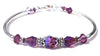 Solid Sterling Silver Bangle February Birthstone Bracelets  in Simulated  Amethyst