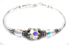 Solid Sterling Silver Bangle April Birthstone Bracelets  in Simulated   Diamond