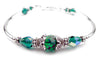 Solid Sterling Silver Bangle May Birthstone Bracelets  in Simulated  Emerald