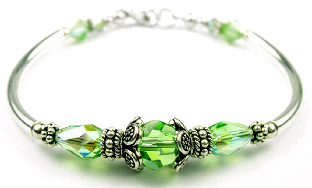 Solid Sterling Silver Bangle August Birthstone Bracelets  in Simulated  Peridot