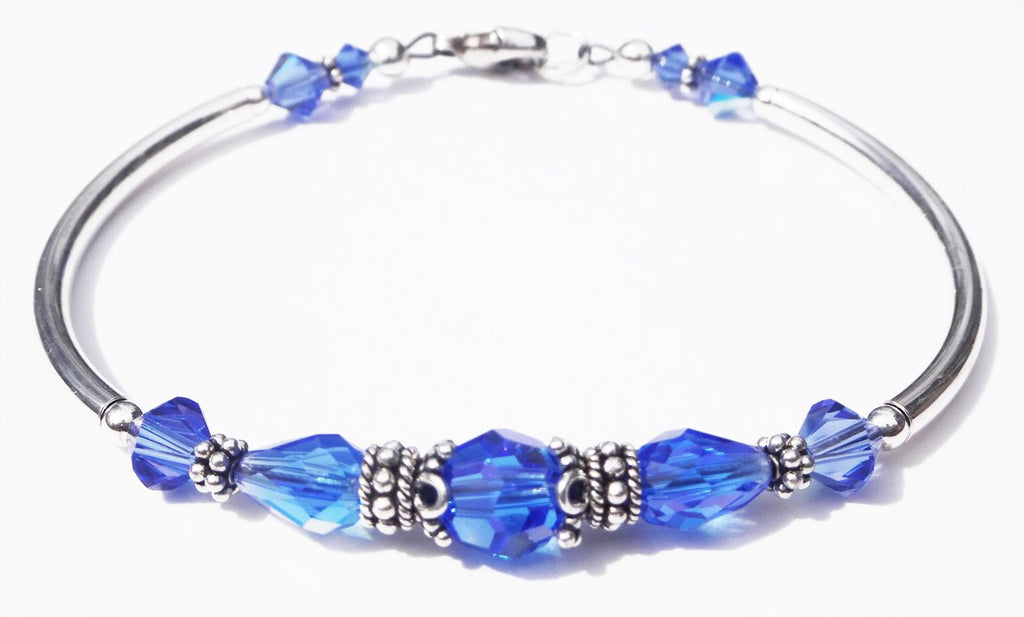 Solid Sterling Silver Bangle September Birthstone Bracelets  in Simulated  Vibrant Blue Sapphire