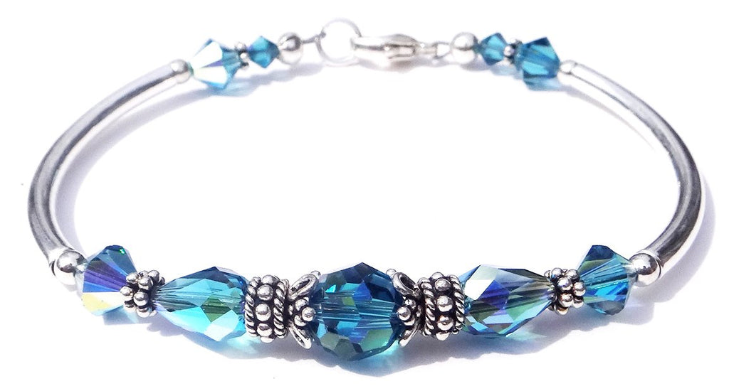 Solid Sterling Silver Bangle December Birthstone Bracelets in Simulated  Blue Zircon