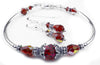Solid Sterling Silver Bangle January Birthstone Bracelets & Earrings in Simulated  Vibrant Red Garnet