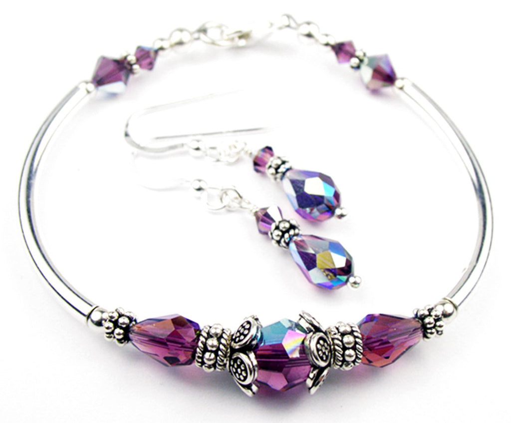 Solid Sterling Silver Bangle February Birthstone Bracelets & Earrings in Simulated  Amethyst