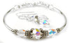 Solid Sterling Silver Bangle April Birthstone Bracelets & Earrings in Simulated   Diamond