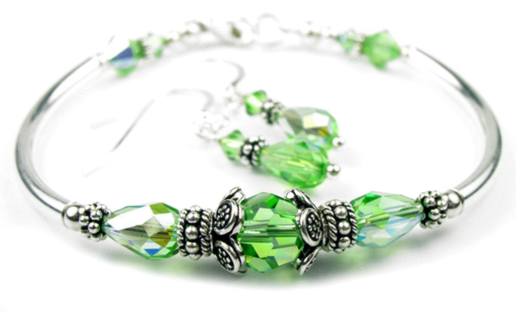Solid Sterling Silver Bangle August Birthstone Bracelets & Earrings in Simulated  Peridot