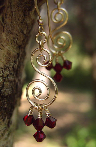 Gold Chandelier Earrings | Red Crystal Chandelier Earrings | Crystal Chandelier Earrings  - DAMALI by GemstoneGifts Handmade Jewelry