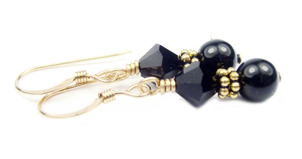 Gold Black Pearl and Crystal Earrings January Garnet Swarovski Crystal Elements