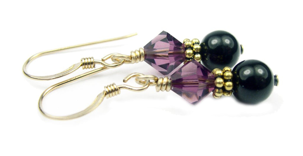 Gold Black Pearl and Crystal Earrings February Amethyst Swarovski Crystal Elements