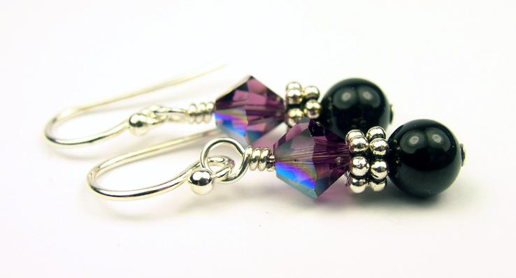 Silver Black Pearl and Crystal Earrings February Amethyst Swarovski Crystal Elements