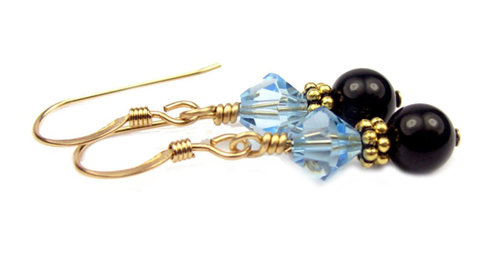 Gold Black Pearl and Crystal Earrings March Aquamarine Swarovski Crystal Elements