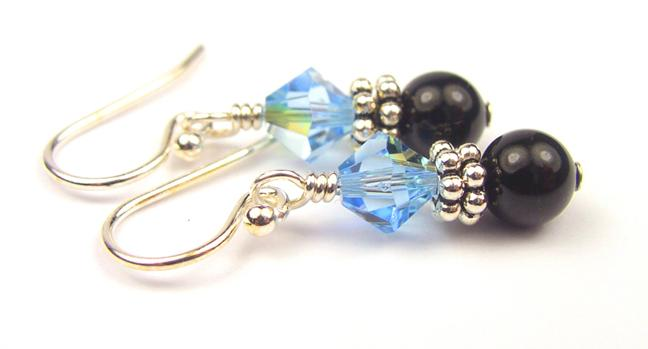 Silver Black Pearl and Crystal Earrings March Aquamarine Swarovski Crystal Elements