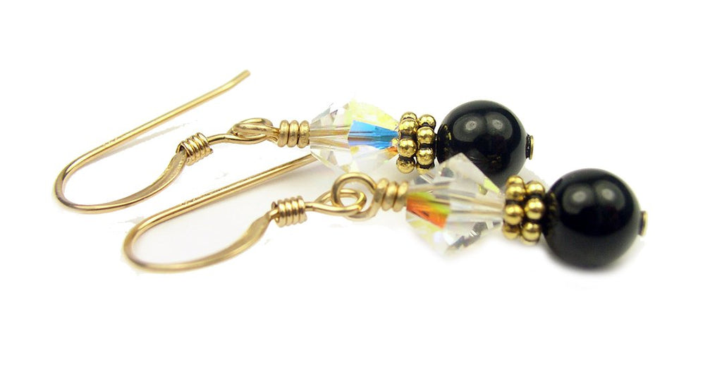 Gold Black Pearl and Crystal Earrings April Crystal Swarovski Crystal Elements