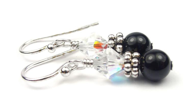 Silver Black Pearl and Crystal Earrings April Crystal Swarovski Crystal Elements