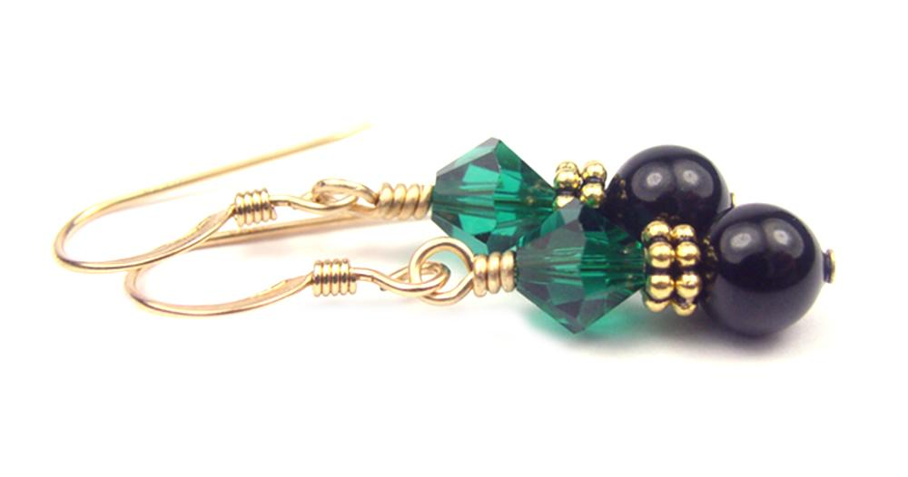 Gold Black Pearl and Crystal Earrings May Emerald Swarovski Crystal Elements