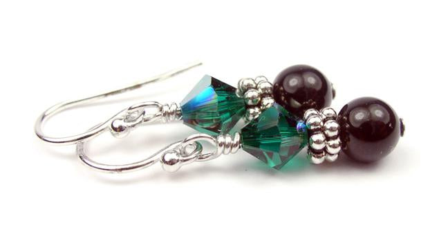 Silver Black Pearl and Crystal Earrings May Emerald Swarovski Crystal Elements