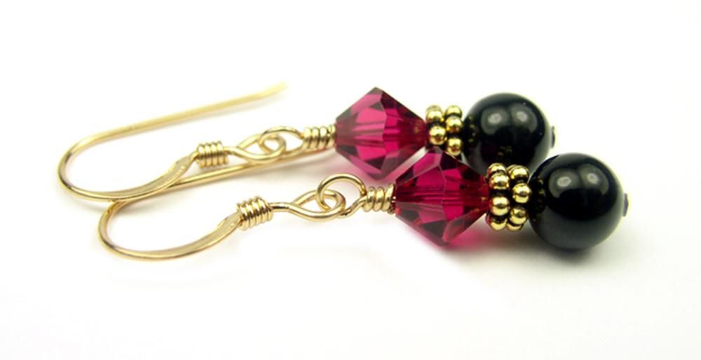 Gold Black Pearl and Crystal Earrings July Ruby Swarovski Crystal Elements