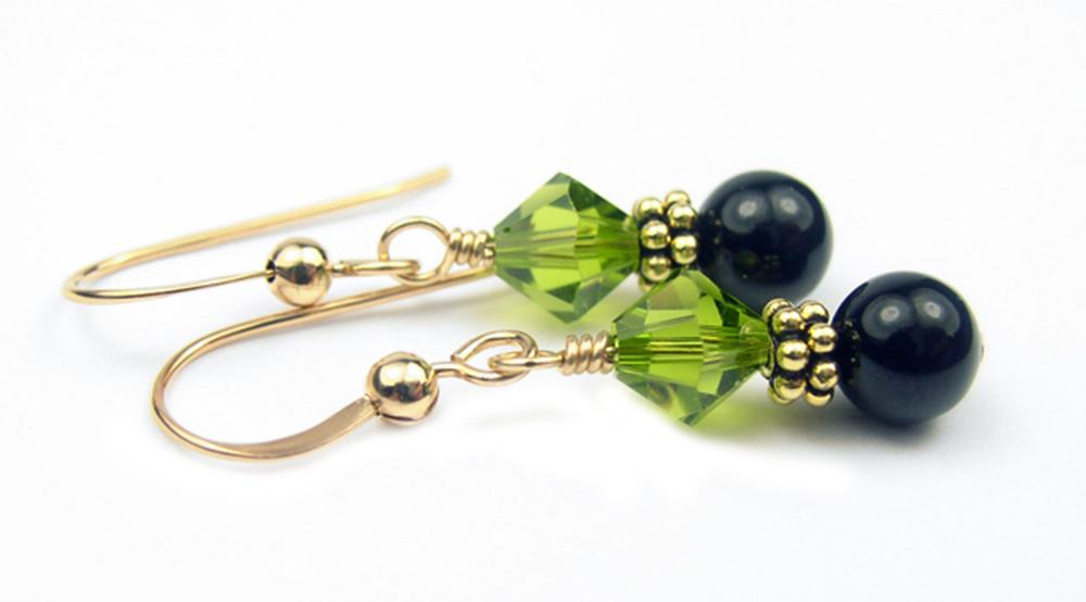 Gold Black Pearl and Crystal Earrings August Dark Peridot Swarovski Crystal Elements