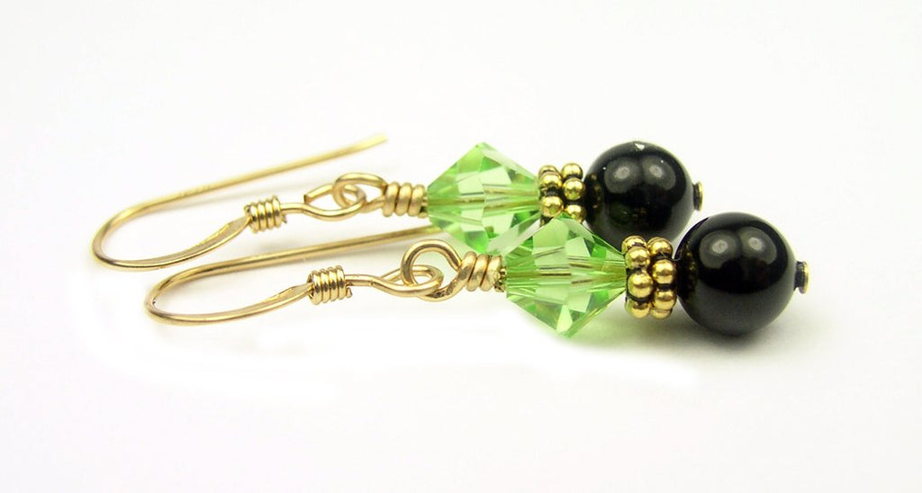 Gold Black Pearl and Crystal Earrings August Peridot Swarovski Crystal Elements