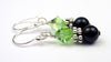 Silver Black Pearl and Crystal Earrings August Peridot Swarovski Crystal Elements