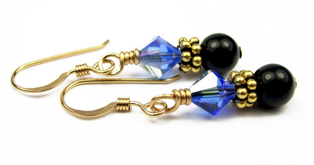 Gold Black Pearl and Crystal Earrings September Sapphire Swarovski Crystal Elements
