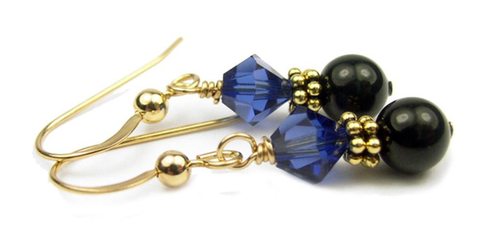 Gold Black Pearl and Crystal Earrings September Dark Sapphire Swarovski Crystal Elements