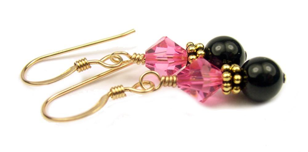 Gold Black Pearl and Crystal Earrings October Rose (Pink Tourmaline) Swarovski Crystal Elements